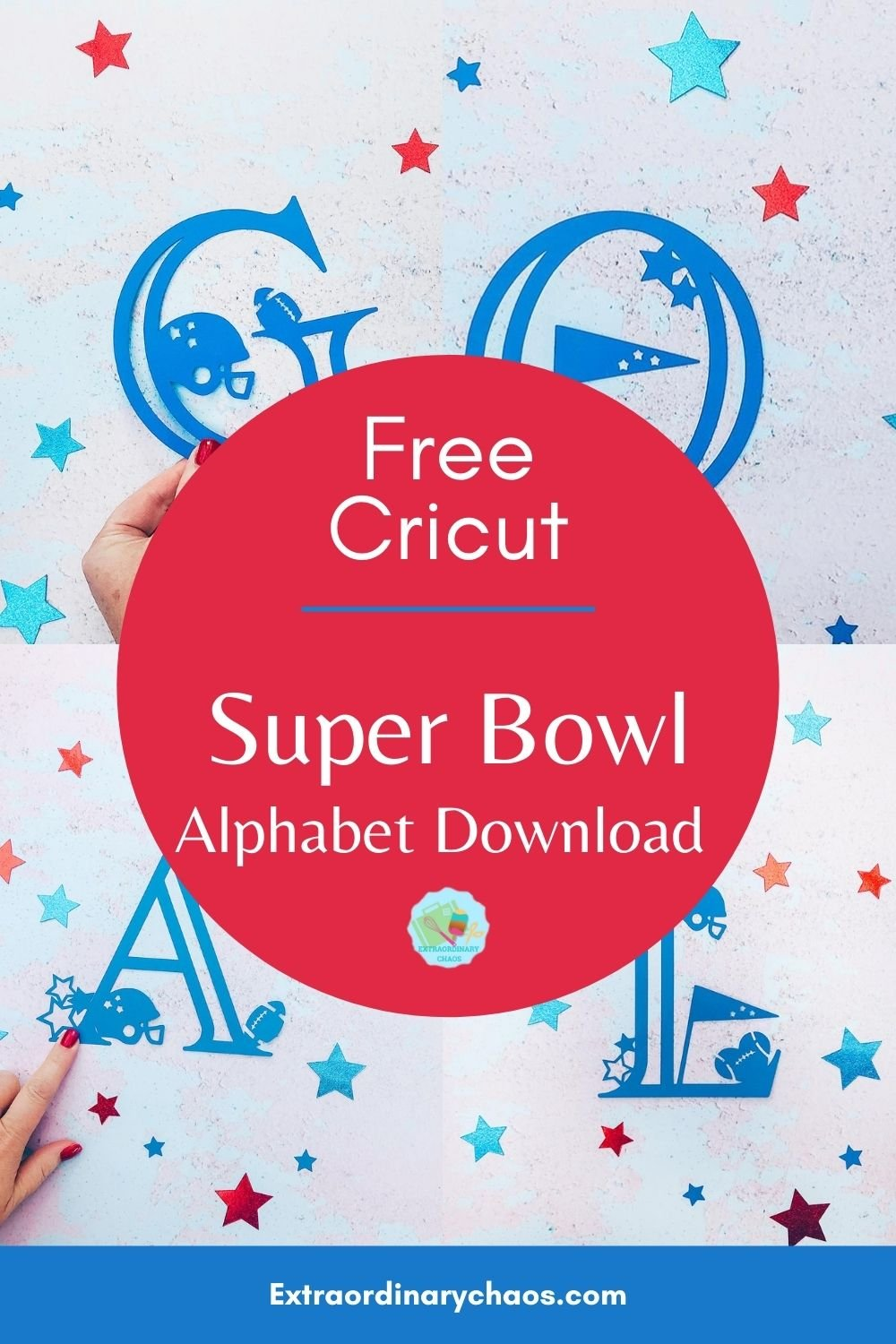 Free downloadable Cricut Super Bowl Alphabet and numbers for Football related Cricut projects