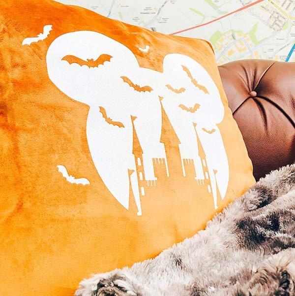 Halloween Disney Castle Style Cushion made with glitter iron on vinyl