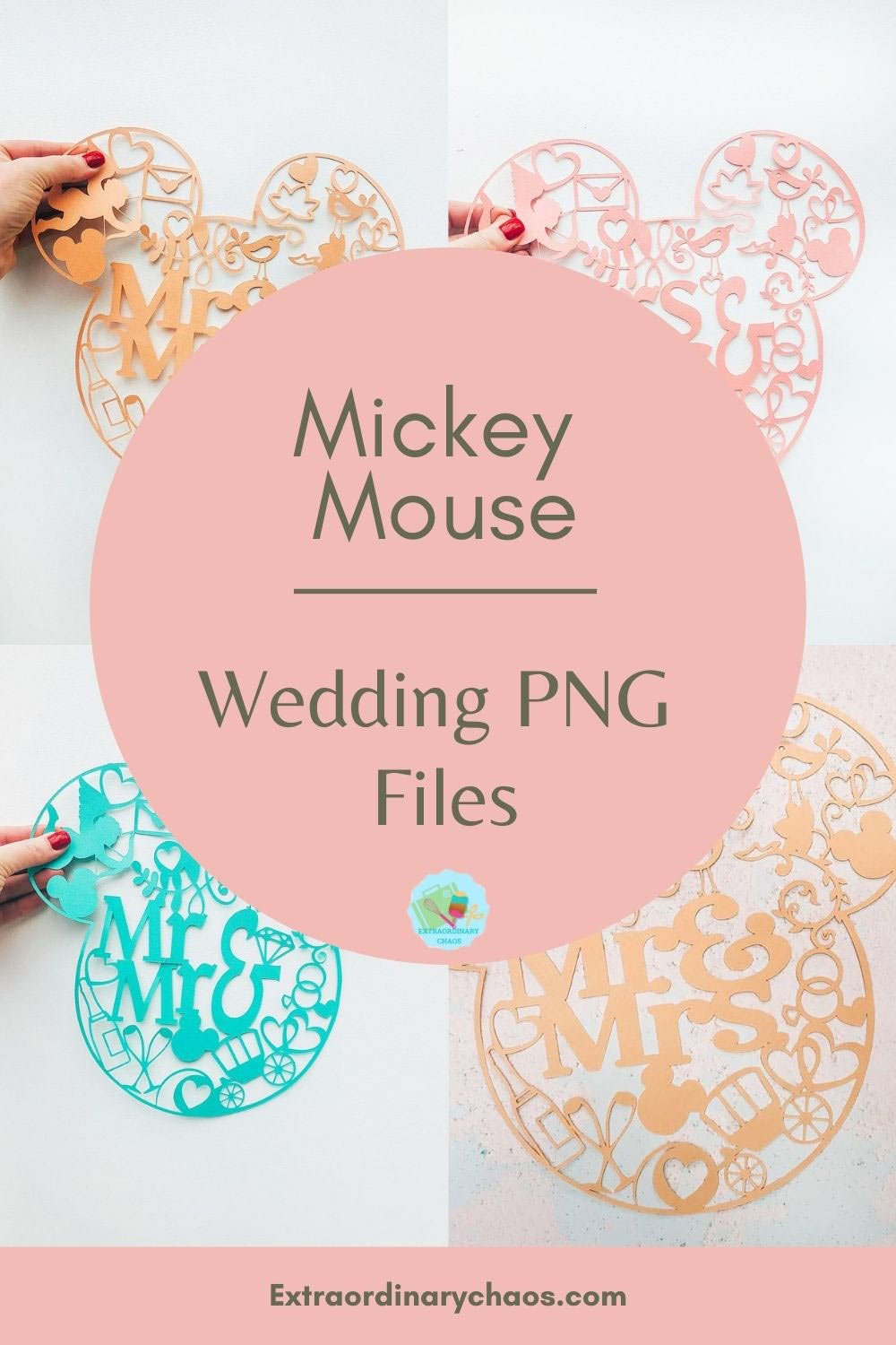 Mickey Mouse Wedding PNG Files for creating wedding decorations, table bunting and cards