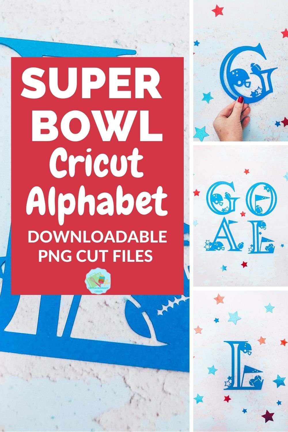 Super bowl Cricut Alphabet for football related craft and home and interiors projects