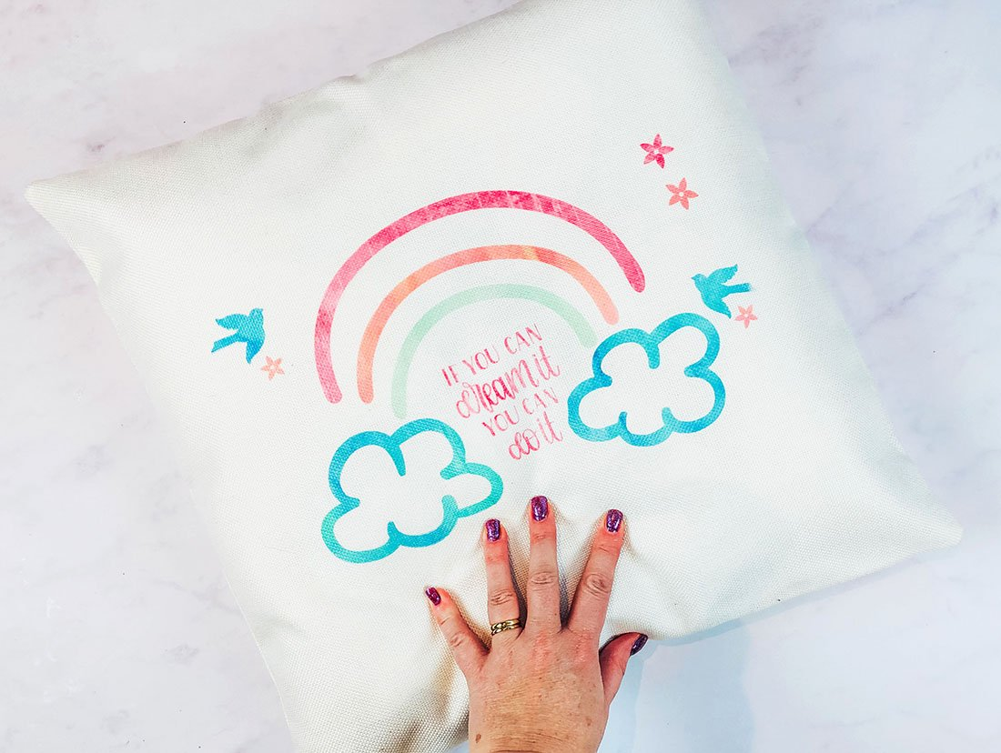 Cricut Cushion rainbow layered pattern