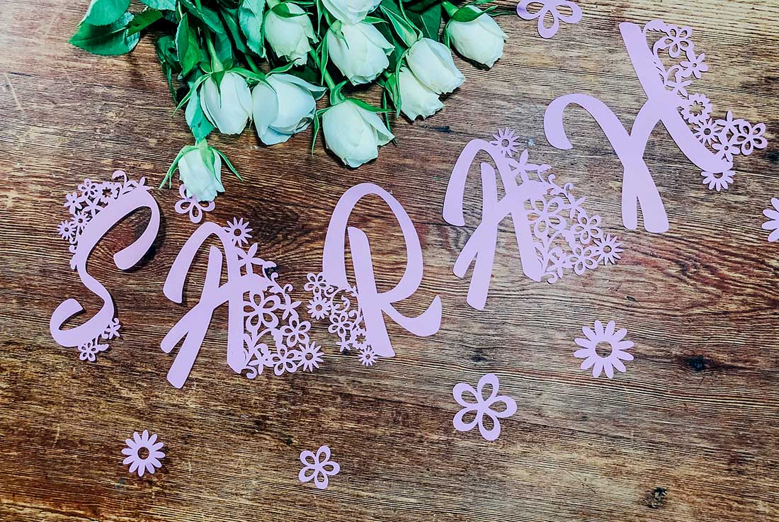 Cricut letters and numbers for weddings and birthdays
