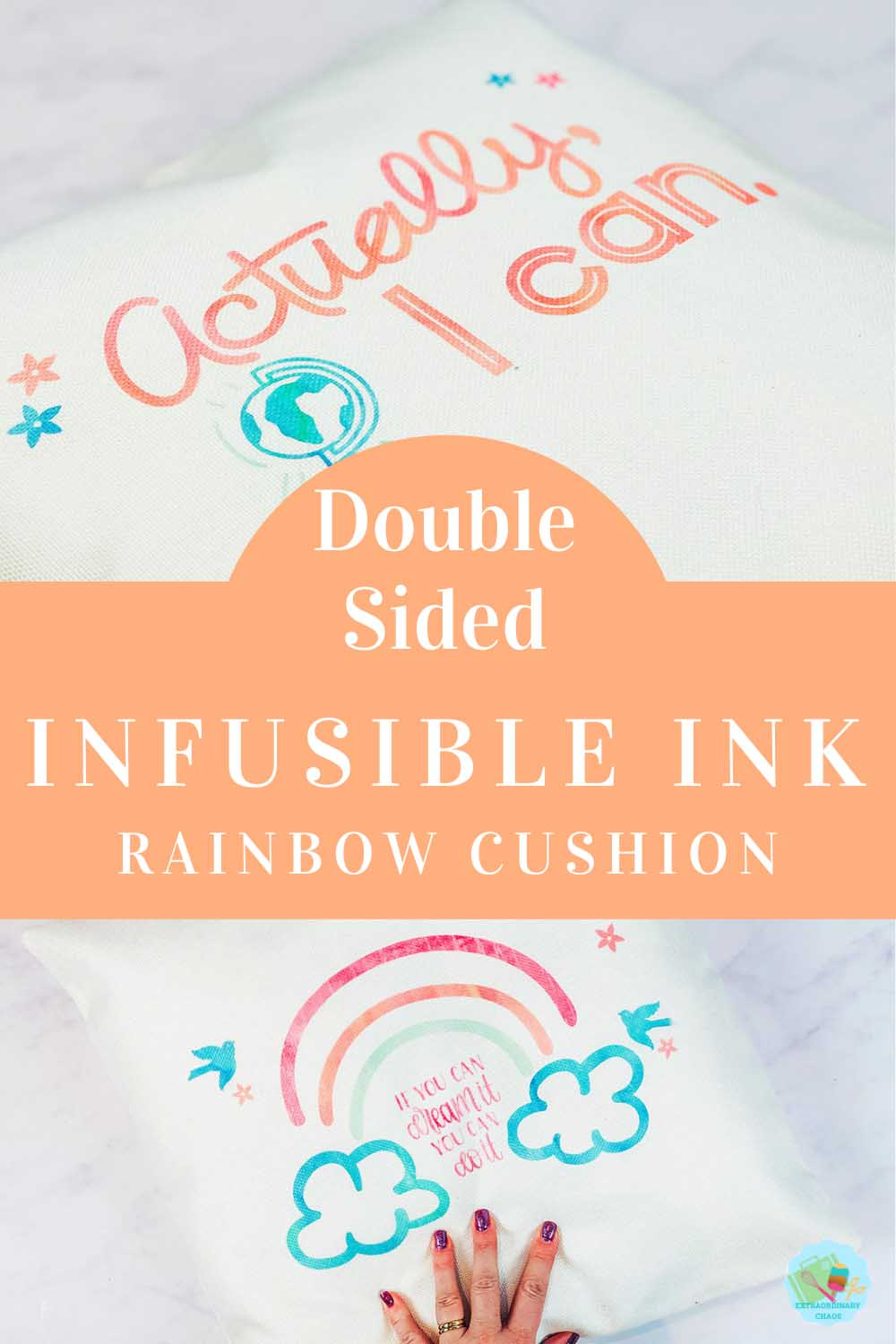 Double Sided Infusible Ink Rainbow Cushion