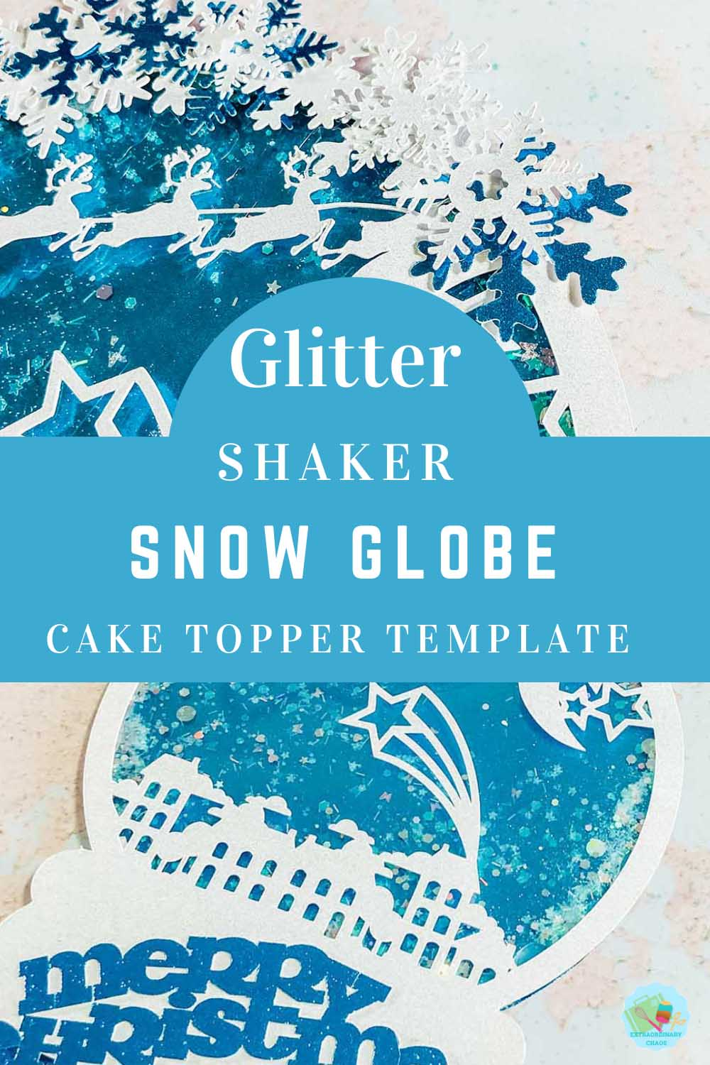 Downloadable Cricut Snow Globe Template for a Glitter Shaker Christmas Cake Topper copy