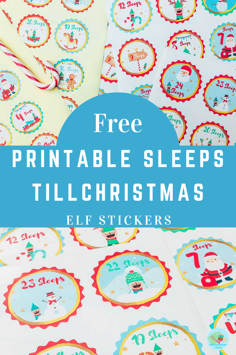 Downloadable Printable Sleeps Till Christmas Elf Stickers