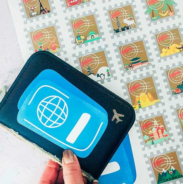 Elf on the shelf travel stamps and passport printables