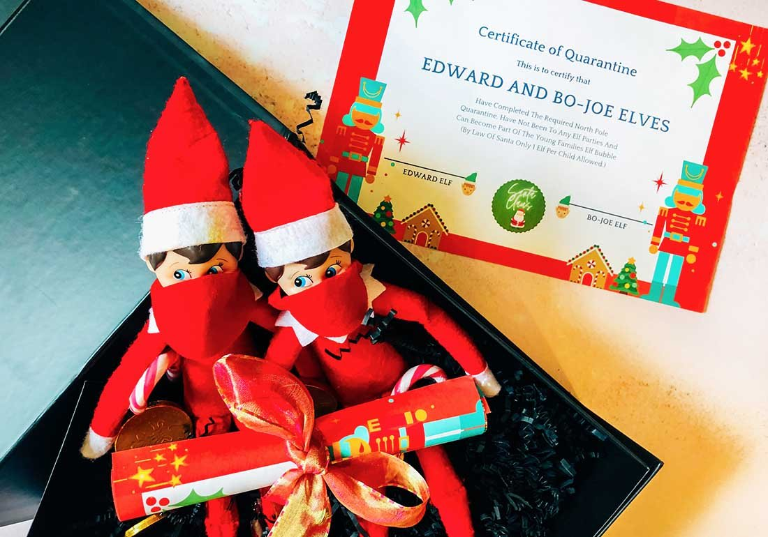 Elf  quarantine kit with Elf on the shelf face Mask templates