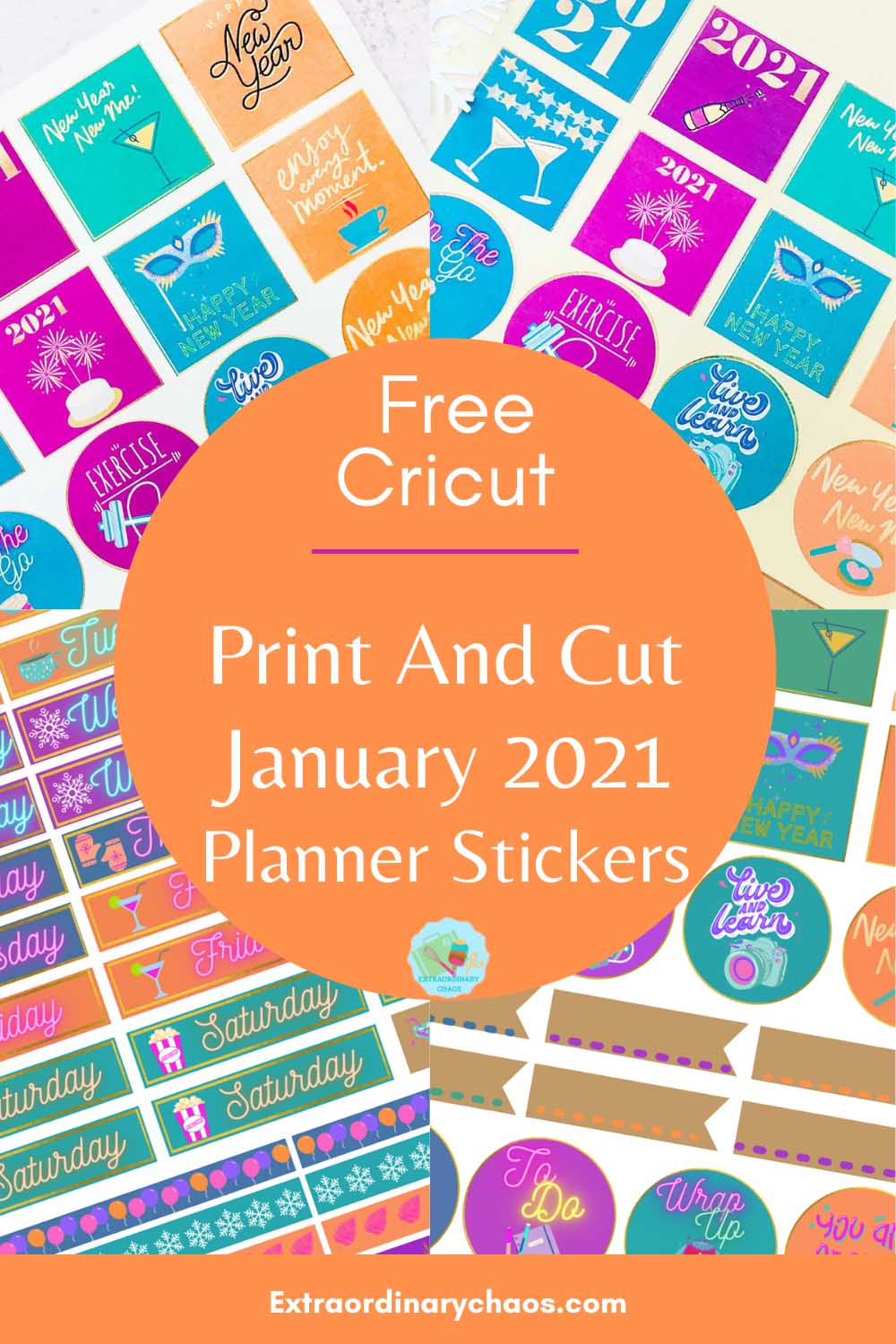 Free Cricut Print and cut January 2021Planner Stickers