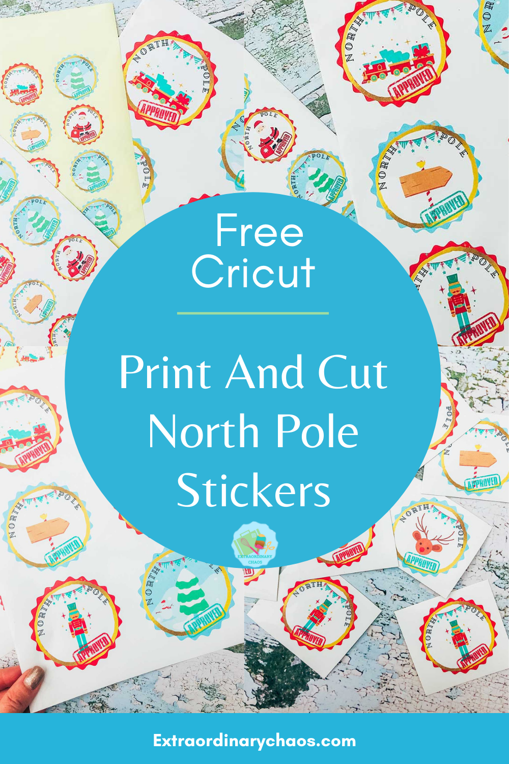 Free Cricut Print and cut North Pole Stickers