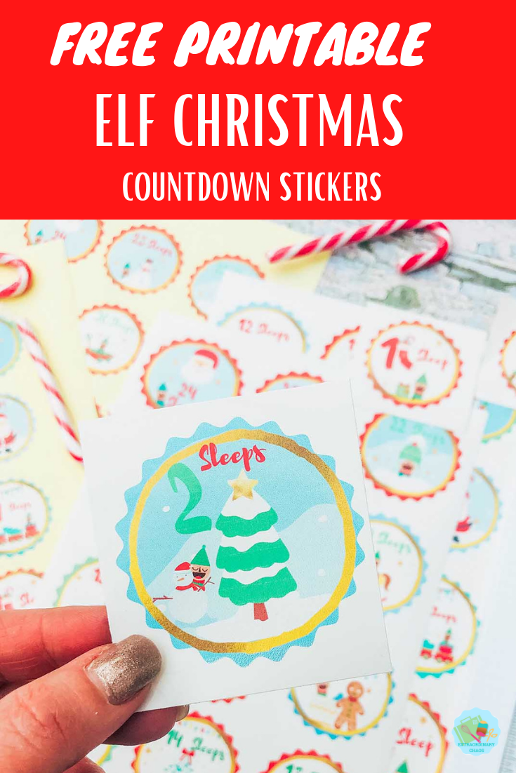 Free Downloadable Elf Christmas Countdown stickers