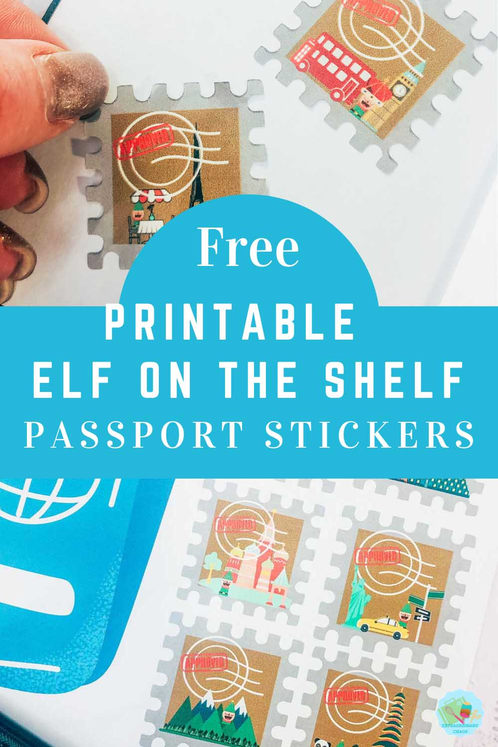Free Downloadable Elf on the shelf passport and world wide travel stickers download