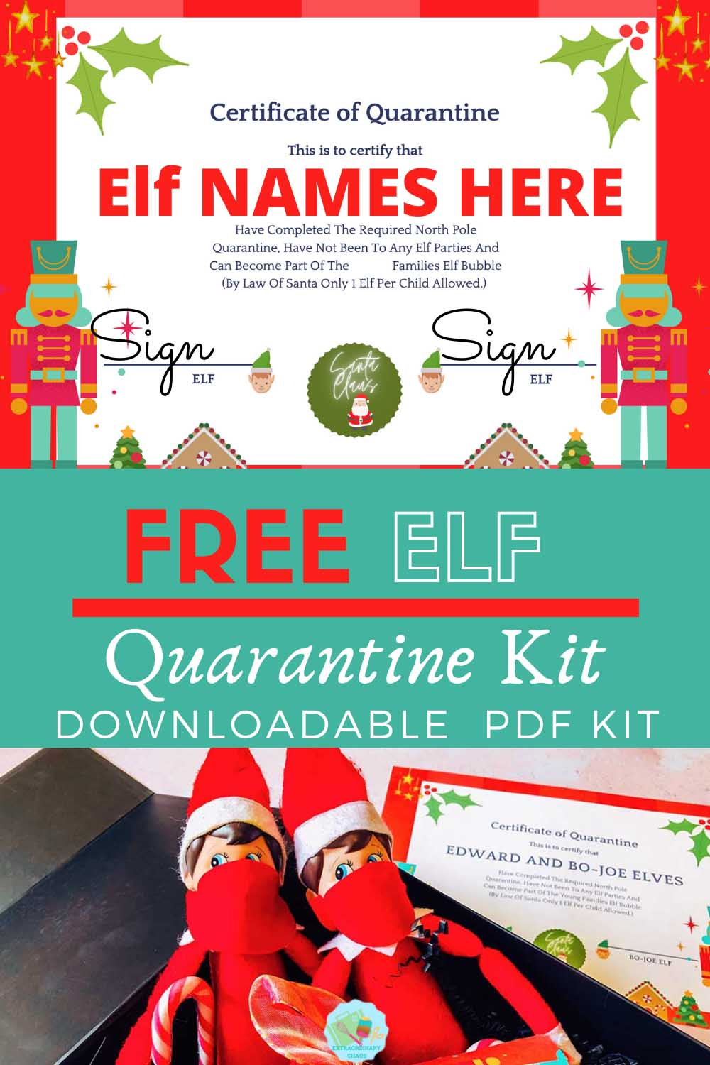 Free Downloadable Elf on the shelf quarantine kit and Elf Quarantine Certificate