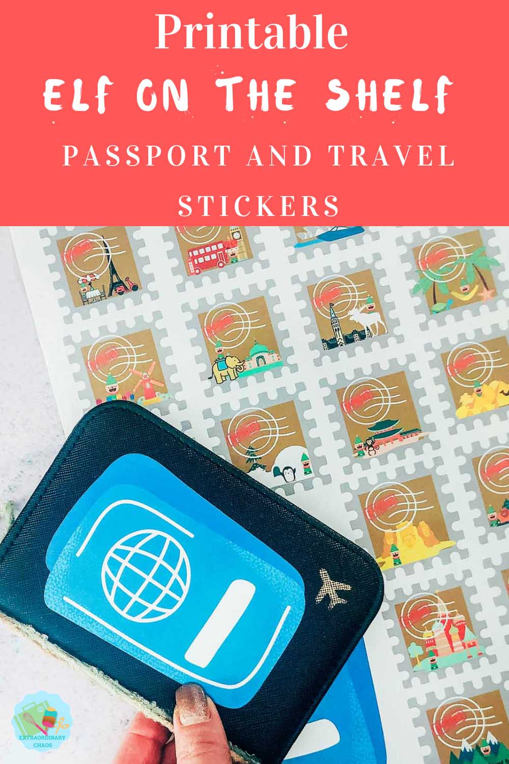 Free Printable Elf on the shelf passport and travel stickers download