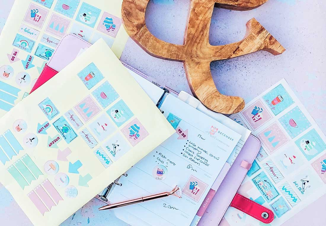 Free printable bullet journal and December Planner Sticker Templates