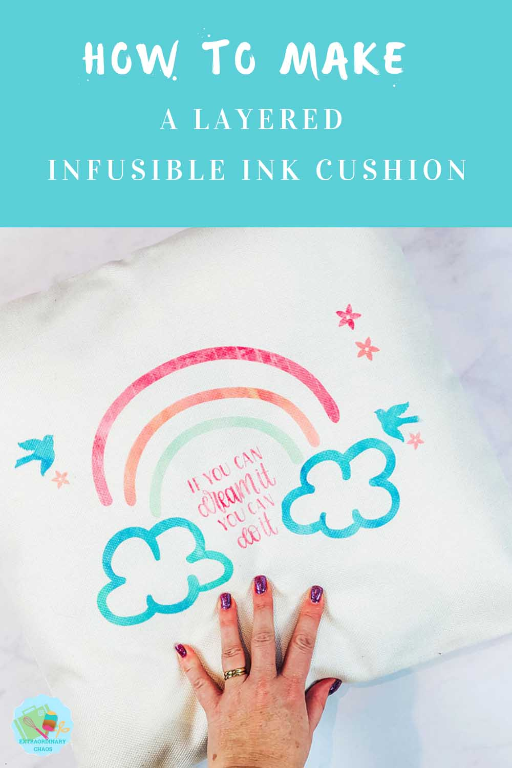 How to make a layered multi coloured infusible ink cushion