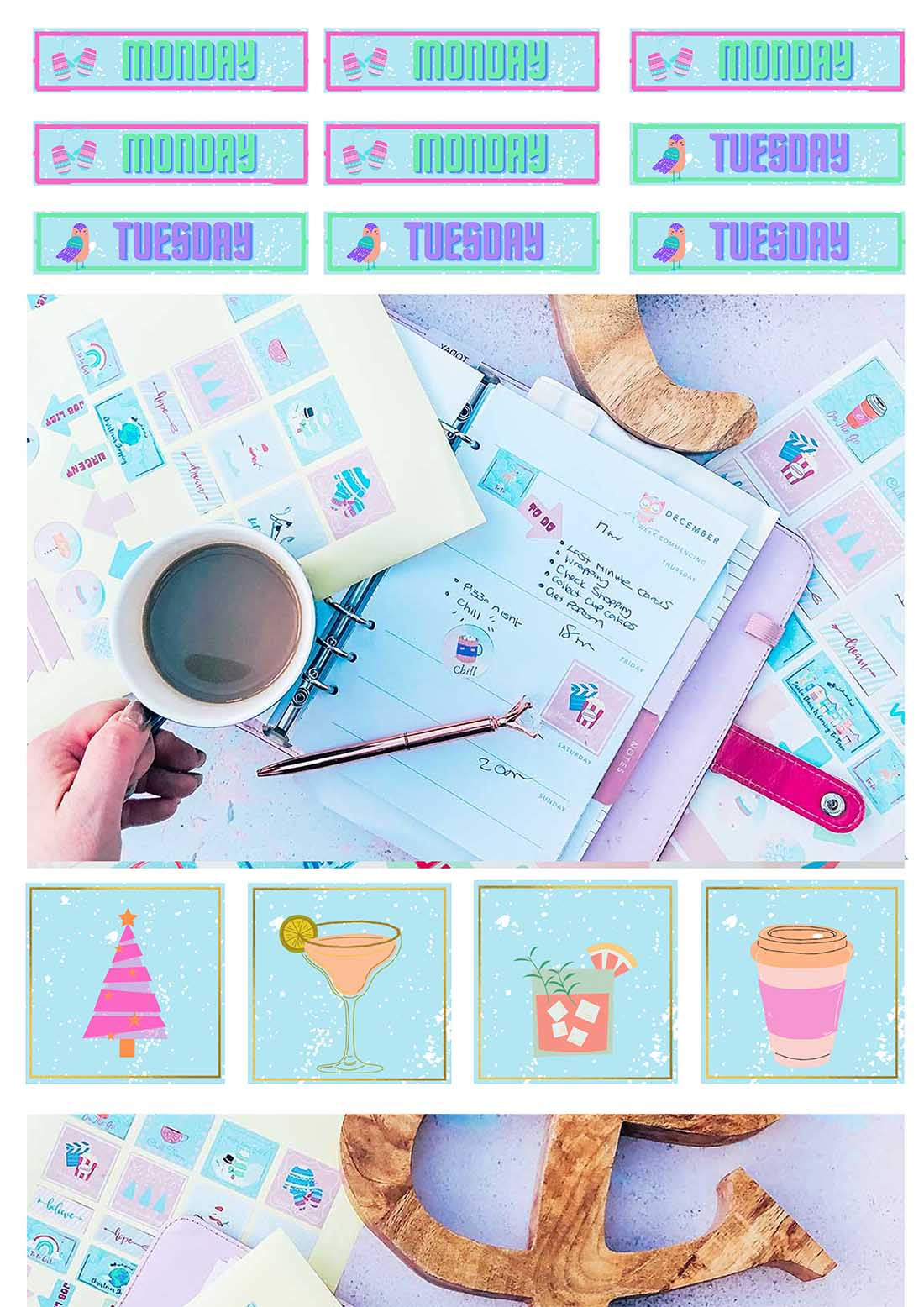 Print and cut  stickers for winter, December Planner Sticker Templates