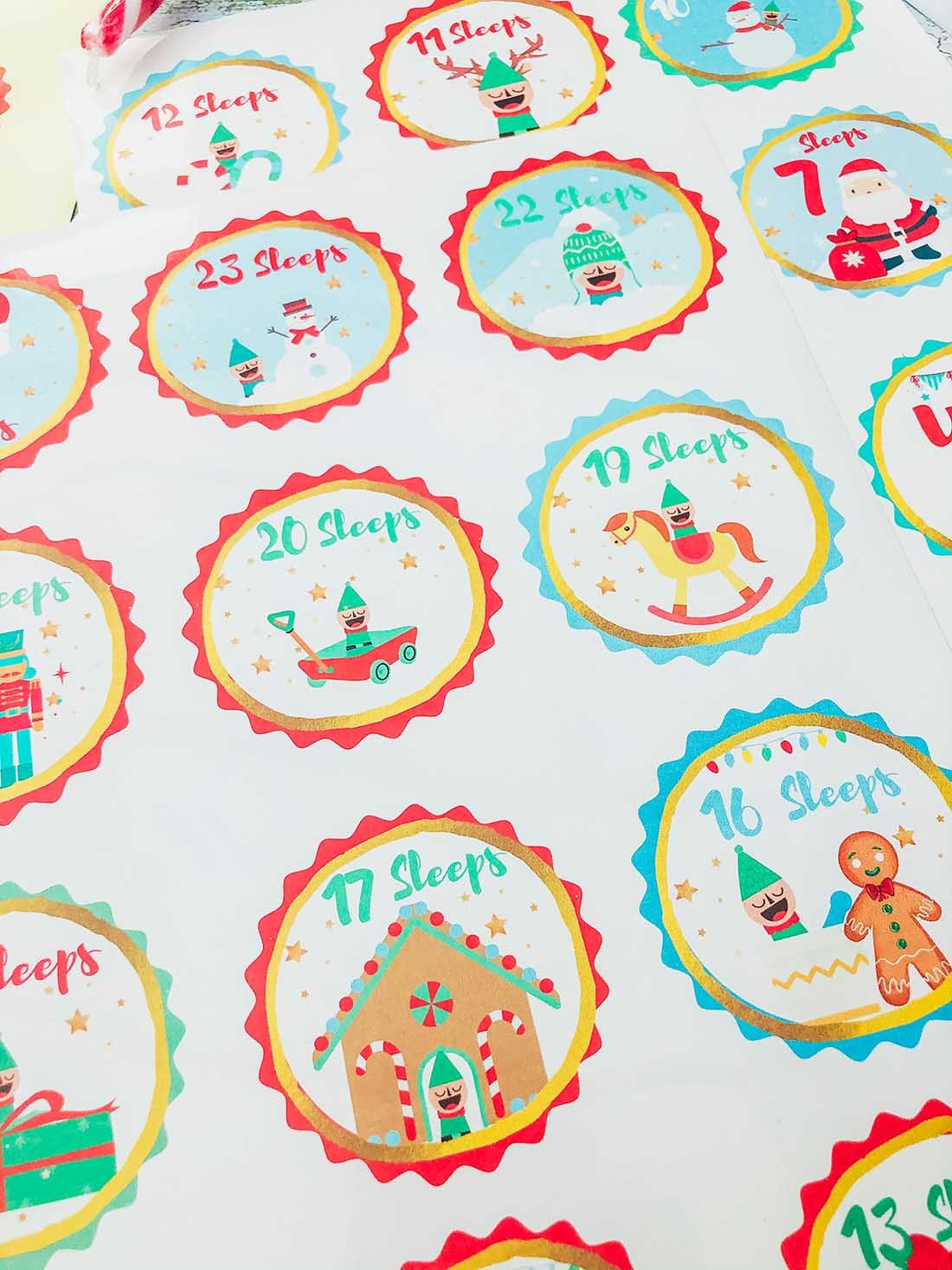 downloadable Elf advent stickers