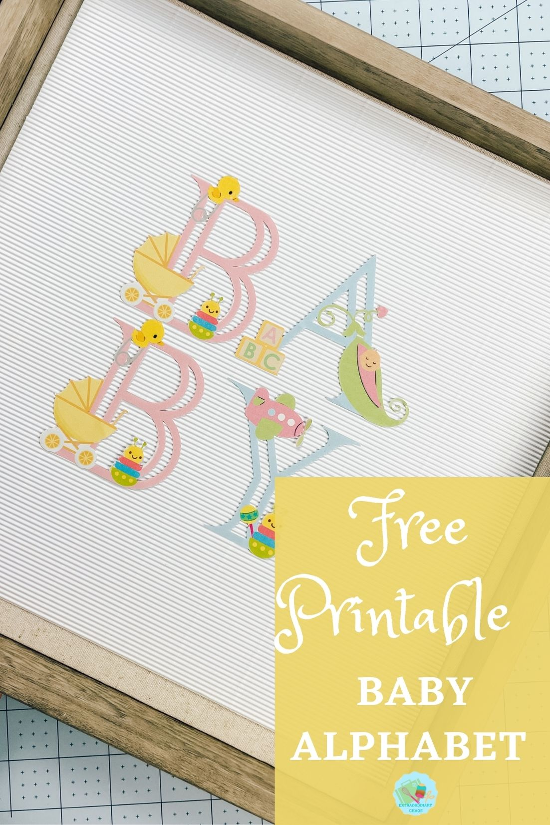 Baby printable alphabet for creating baby shower and baby gifts
