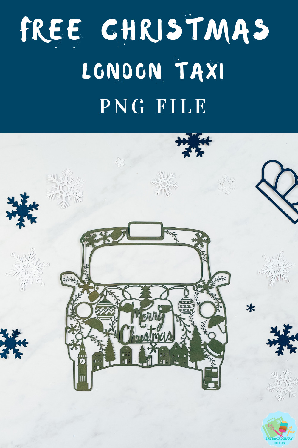 Christmas London Taxi Cab PNG File