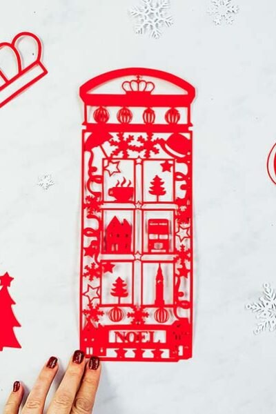 London Phone Box Paper Cut PNG file for Cricut Crafting