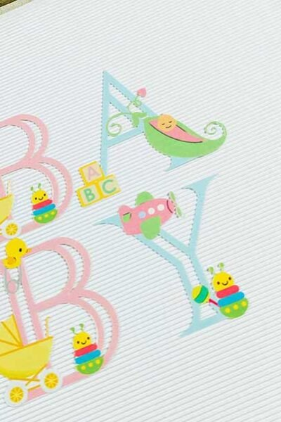 Cover Printable baby Alphabet for creating Cricut Baby gifts