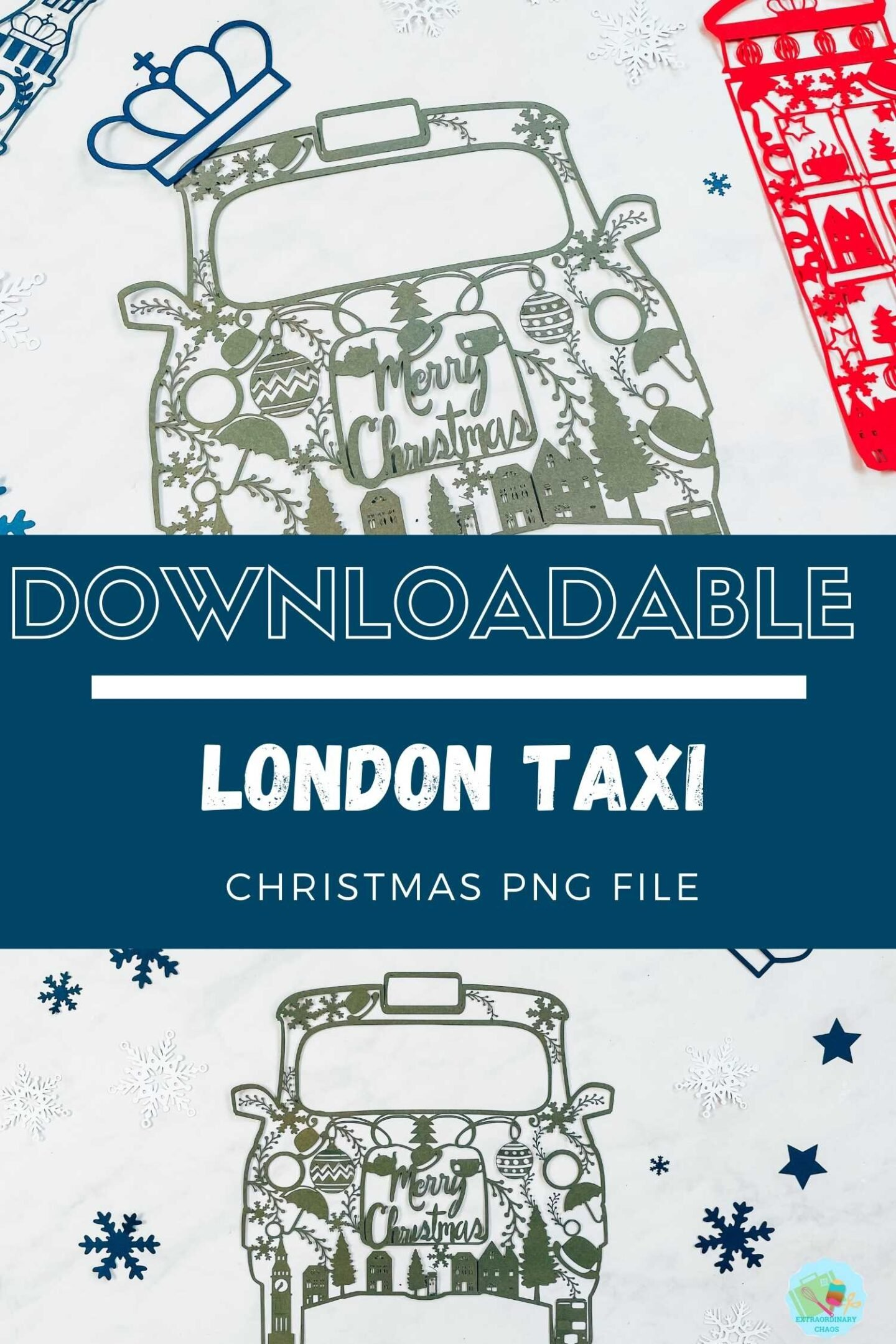 Downloadable Christmas London Taxi PNG file for Cricut Crafts for Christmas Craft projects