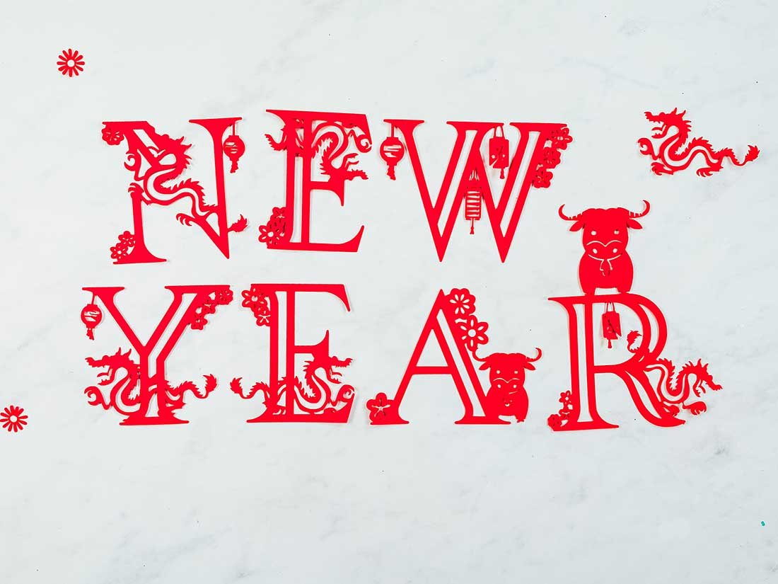 Downloadable Year of the OX letters and numbers For Cricut Crafting Free PNG Files