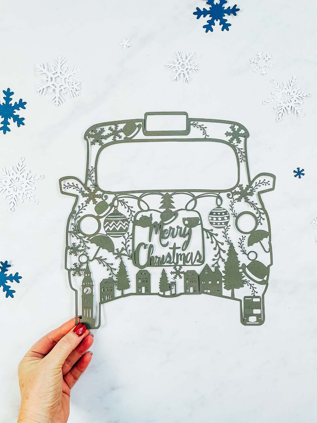 Free London Taxi Christmas PNG File For Cricut