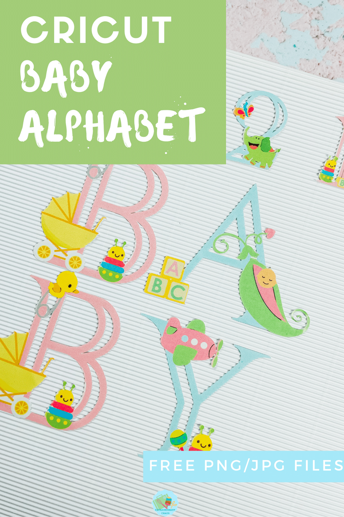 Free downloadable Baby Alphabet for creating baby gifts and decorating nurseries