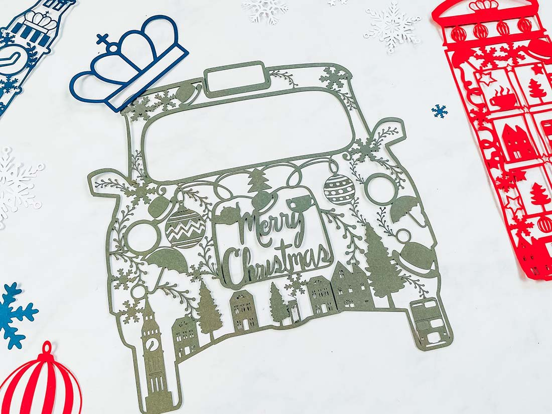 London Taxi Winter cut file for Cricut And Silhouette