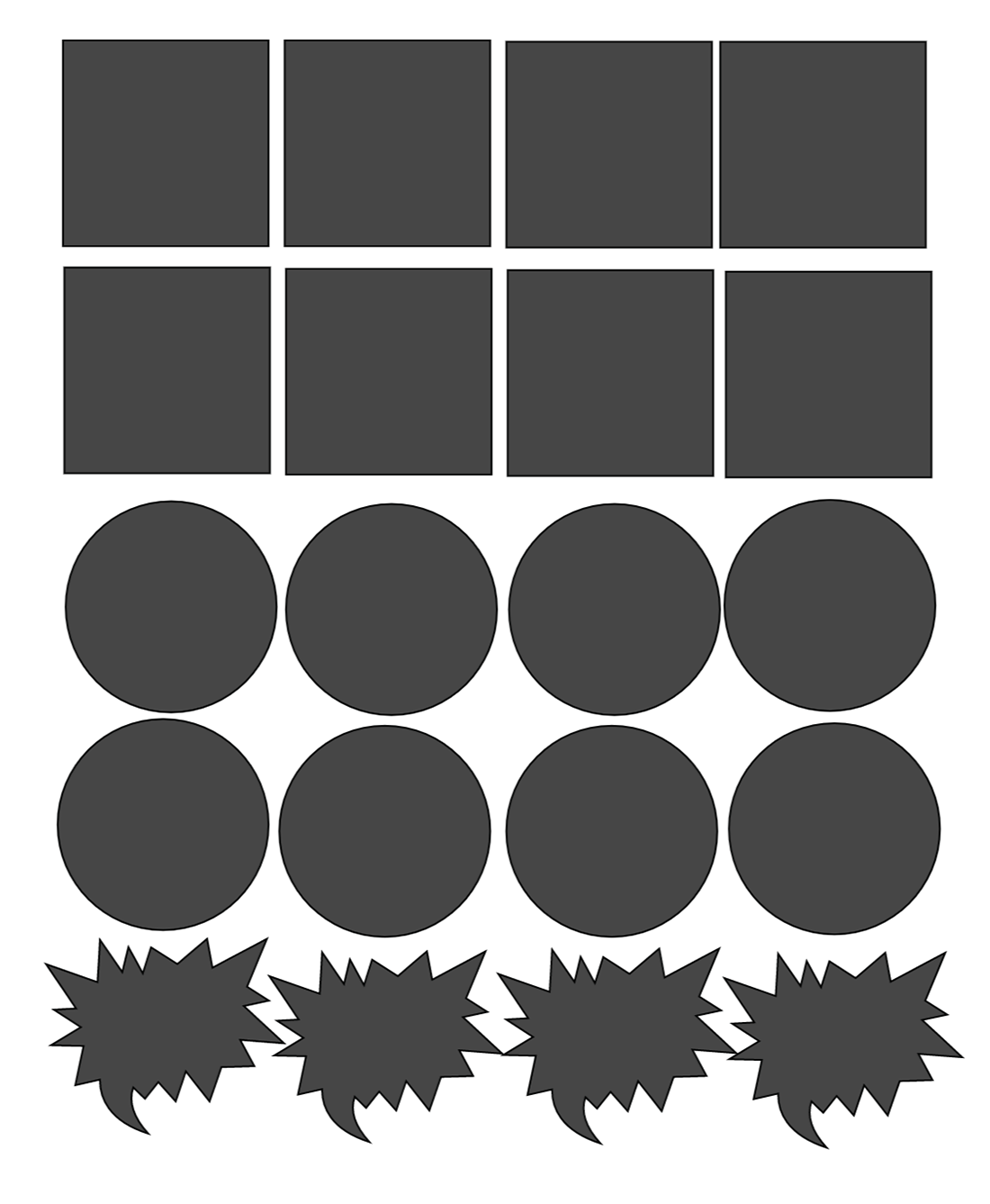 Make a template and attach together to have a pattern to follow to make you print and cut stickers