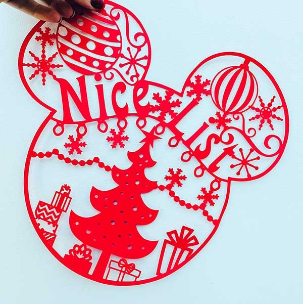 Mickey Mouse Christmas Nice List Cut File Feature