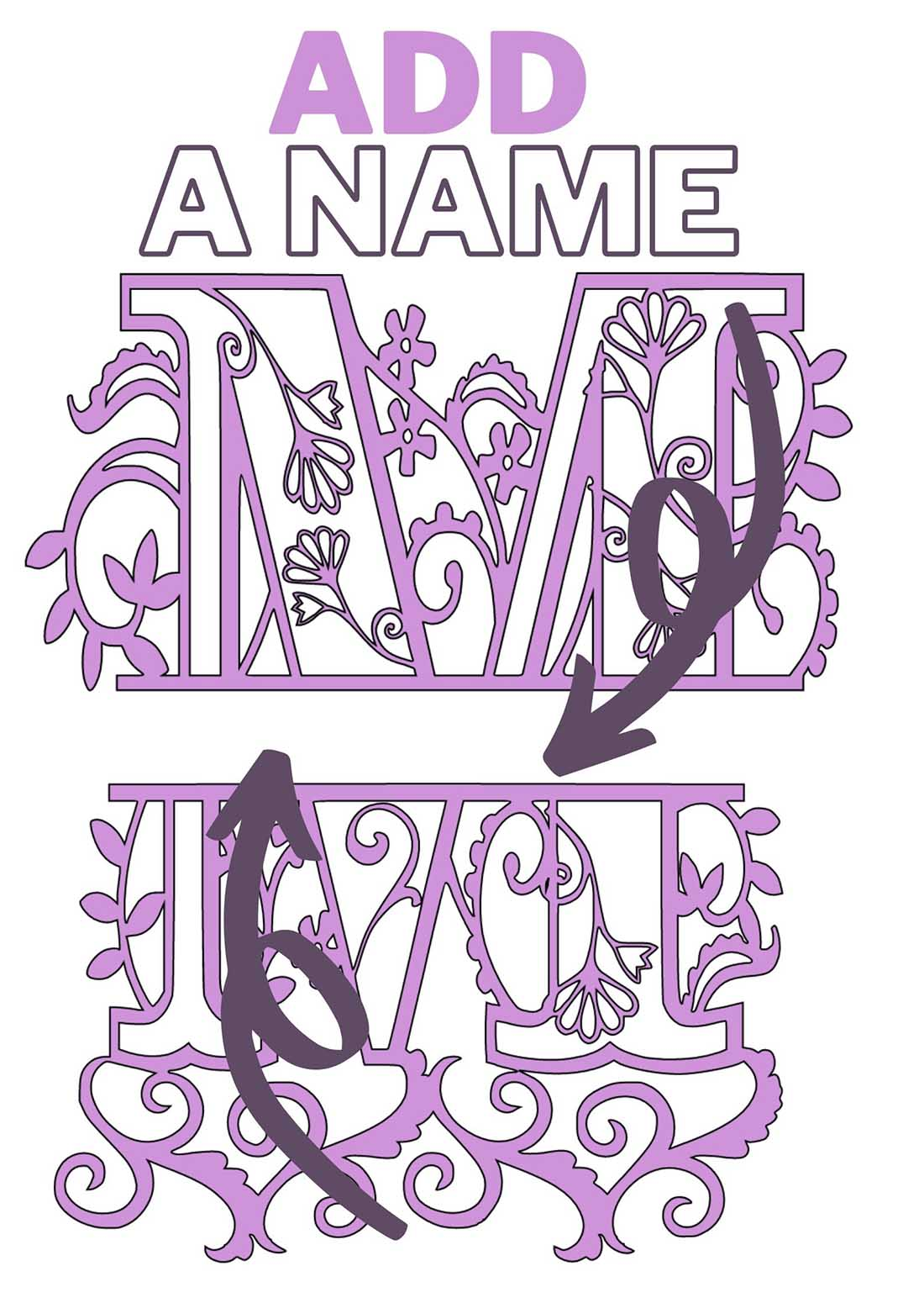 Split monogram for mothers day with space to personalise
