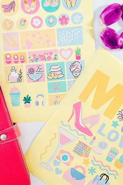 Cricut printable scrapbookng cut file stickers for Mothers. Day