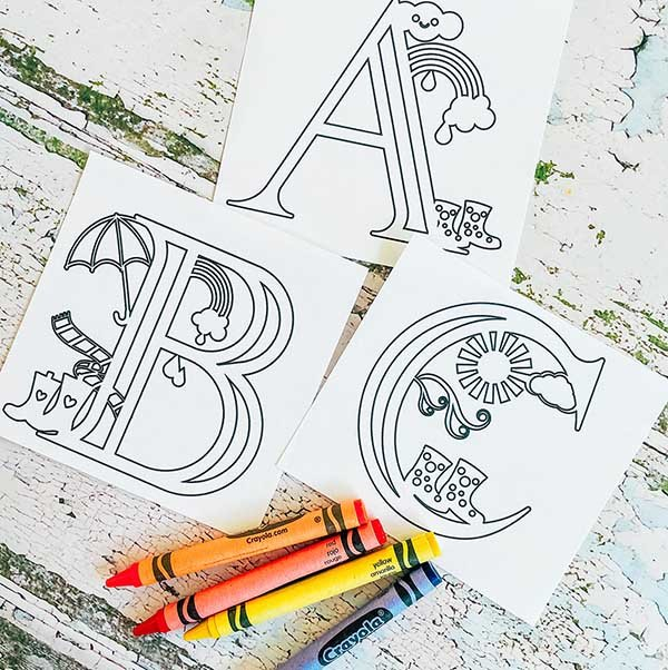 Cover Home school colouring alphabet for spellings and maths, weather themed