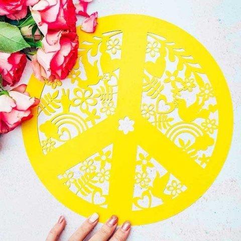 Cover peace sign cut file for Cricut or Silhouette