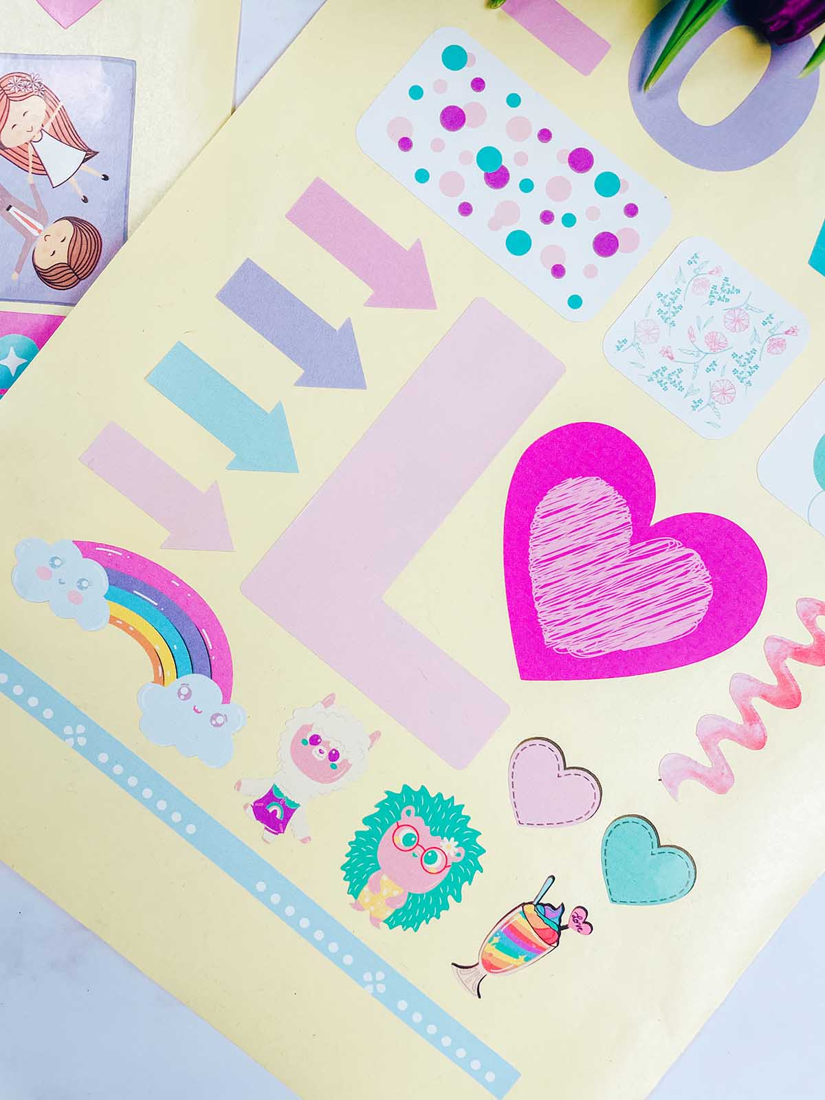 Cricut scrapbooking layout and bullet journal and planner stickers