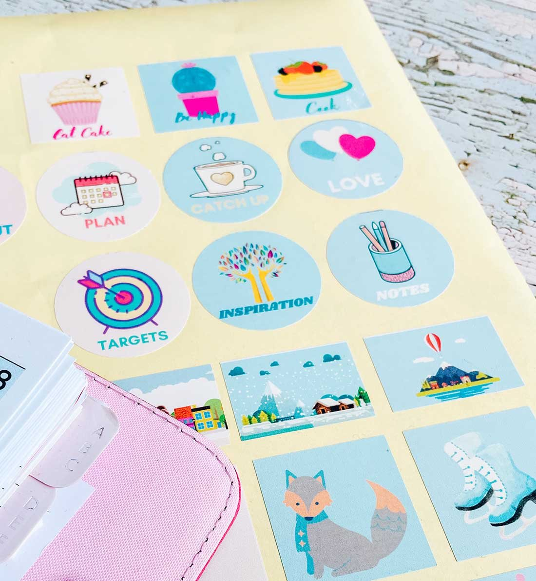 February Journal stickers for planner layouts and scrpbook pages