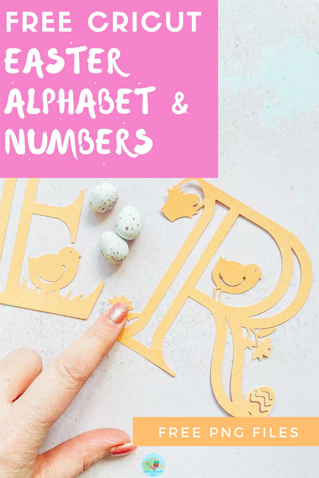 Free Cricut Easter Alphabet and Number Set for using with paper and vinyl