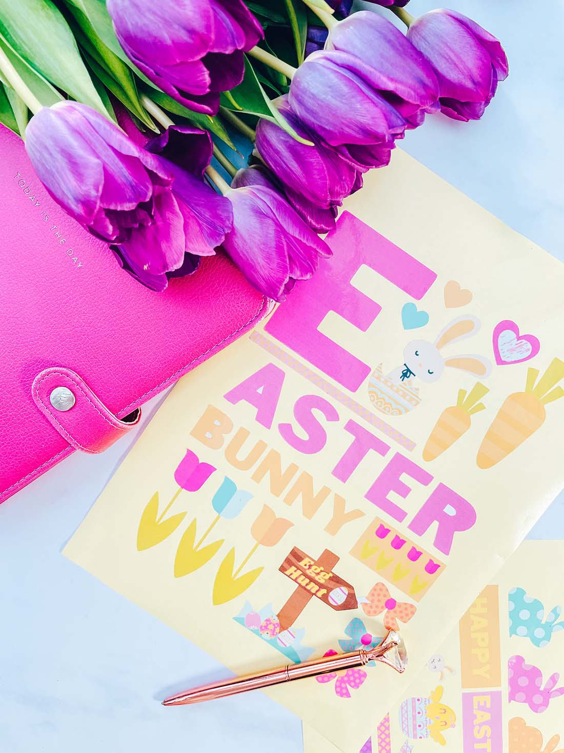 Free Cricut Print and cut Easter Stickers for Bullet Journals