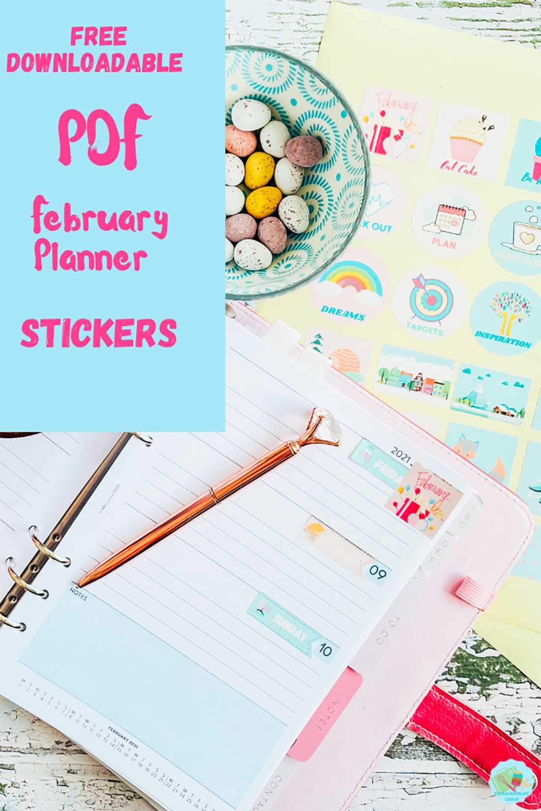 Free Downloadable PDF and PNG planner stickers for February
