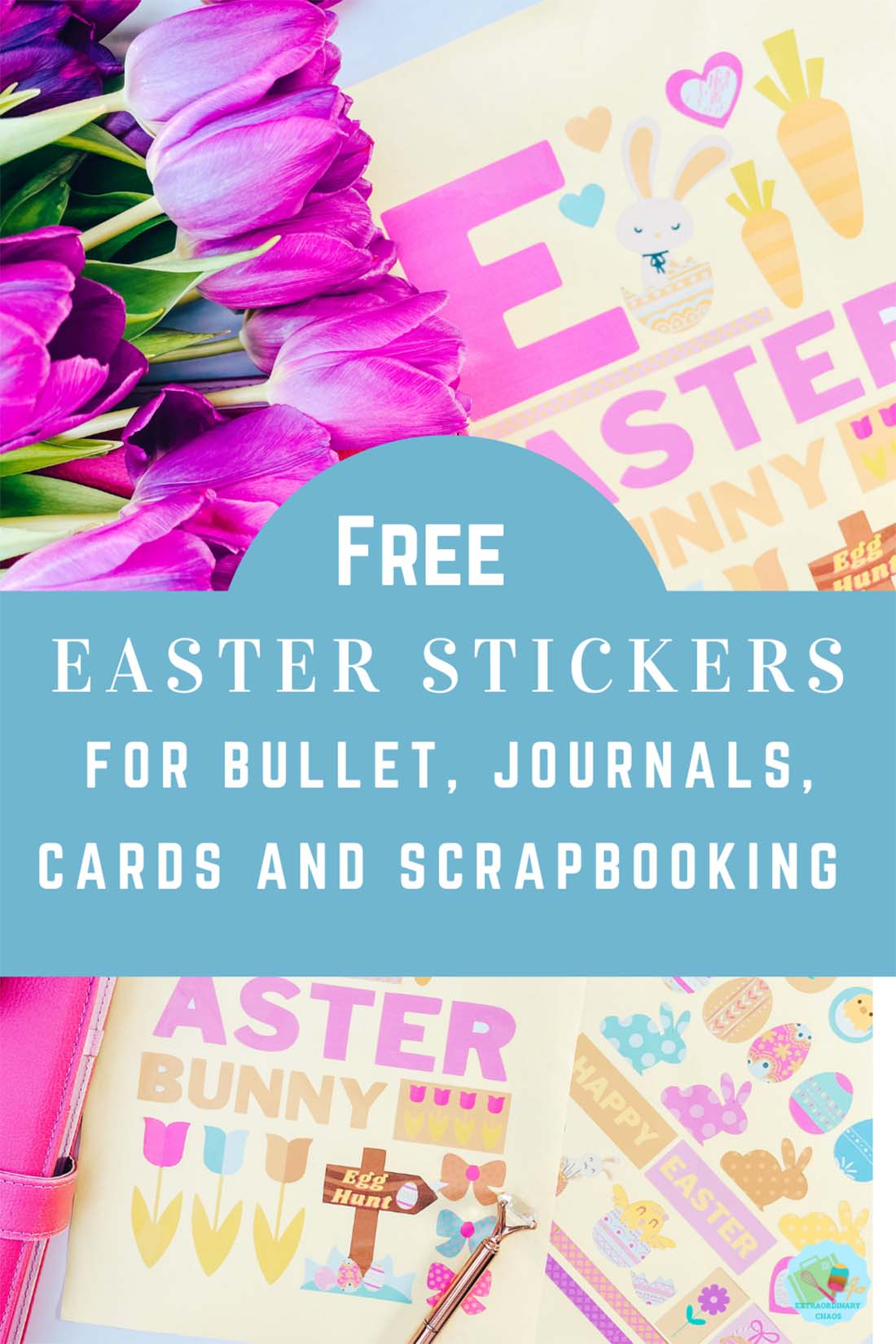 Free Easter printable stickers for Cricut Print and cut or to cut out by hand fro cards, planners scrapbooking and bullet journals