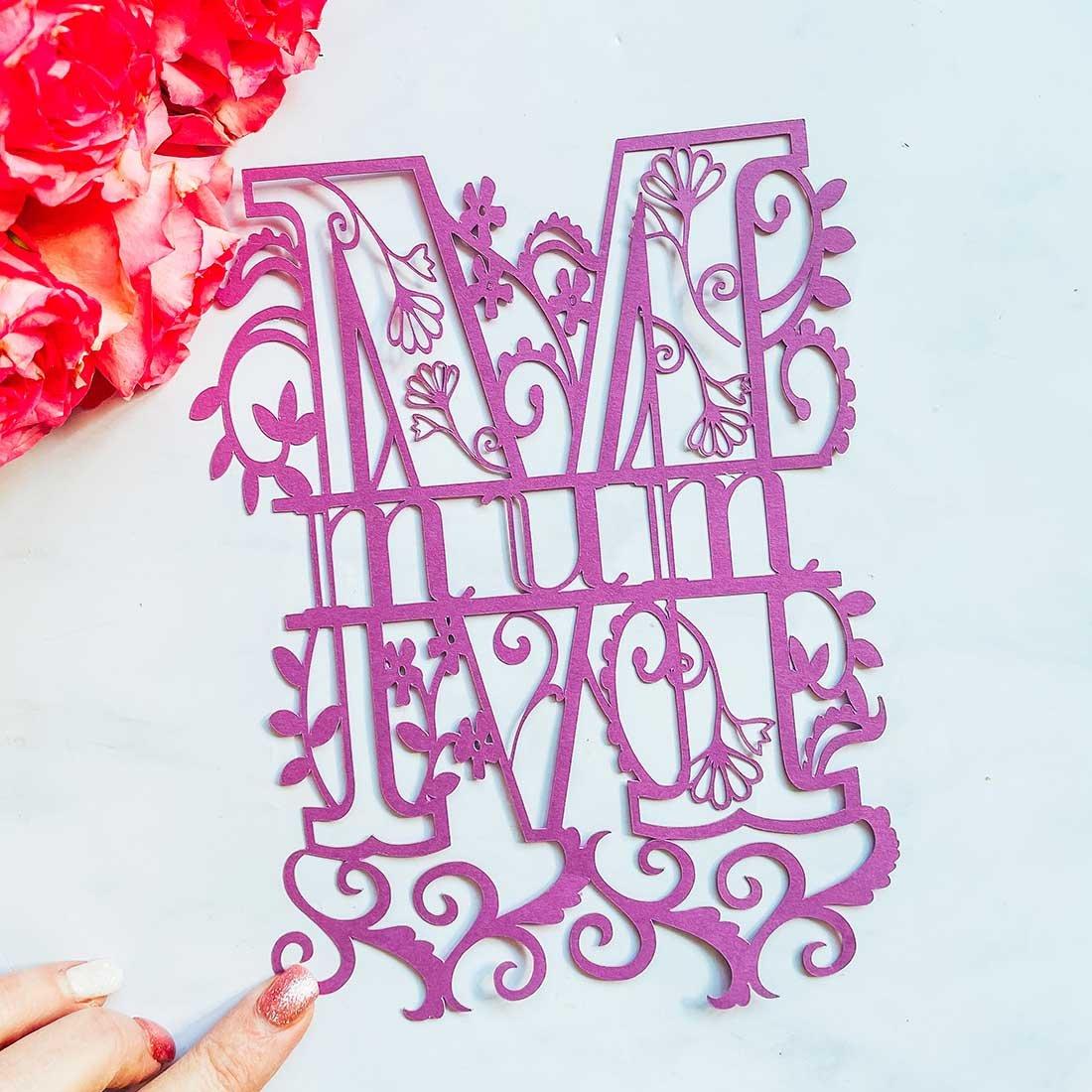 Free cut file Mothers Day Split monogram cut file for Cricut