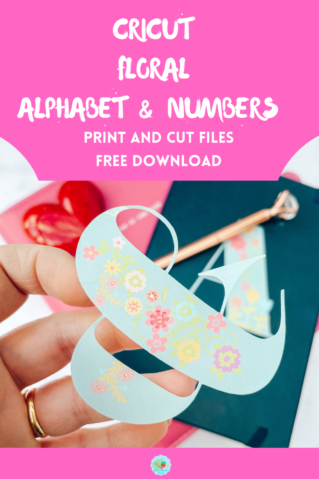 Free download for a Cricut Flowery Alphabet and numbers for Crafting and scrapbooking