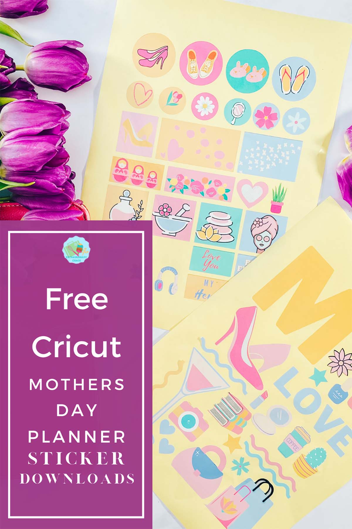 Free download for a Cricut Mothers Day Planner and bullet journal Stickers