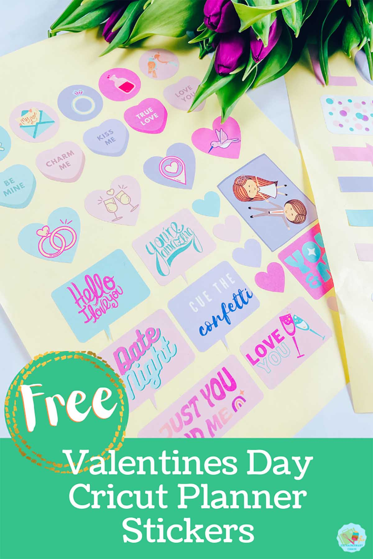 Free downloadable Cricut Valentines Day Stickers For Cricut Crafting, Planners, Bullet Journal and scrapbooking