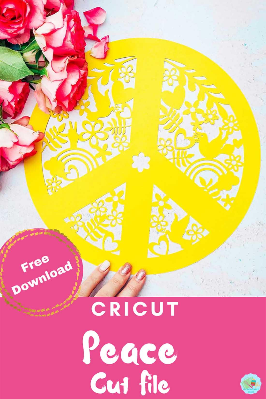 Free downloadable Cricut peace cut file