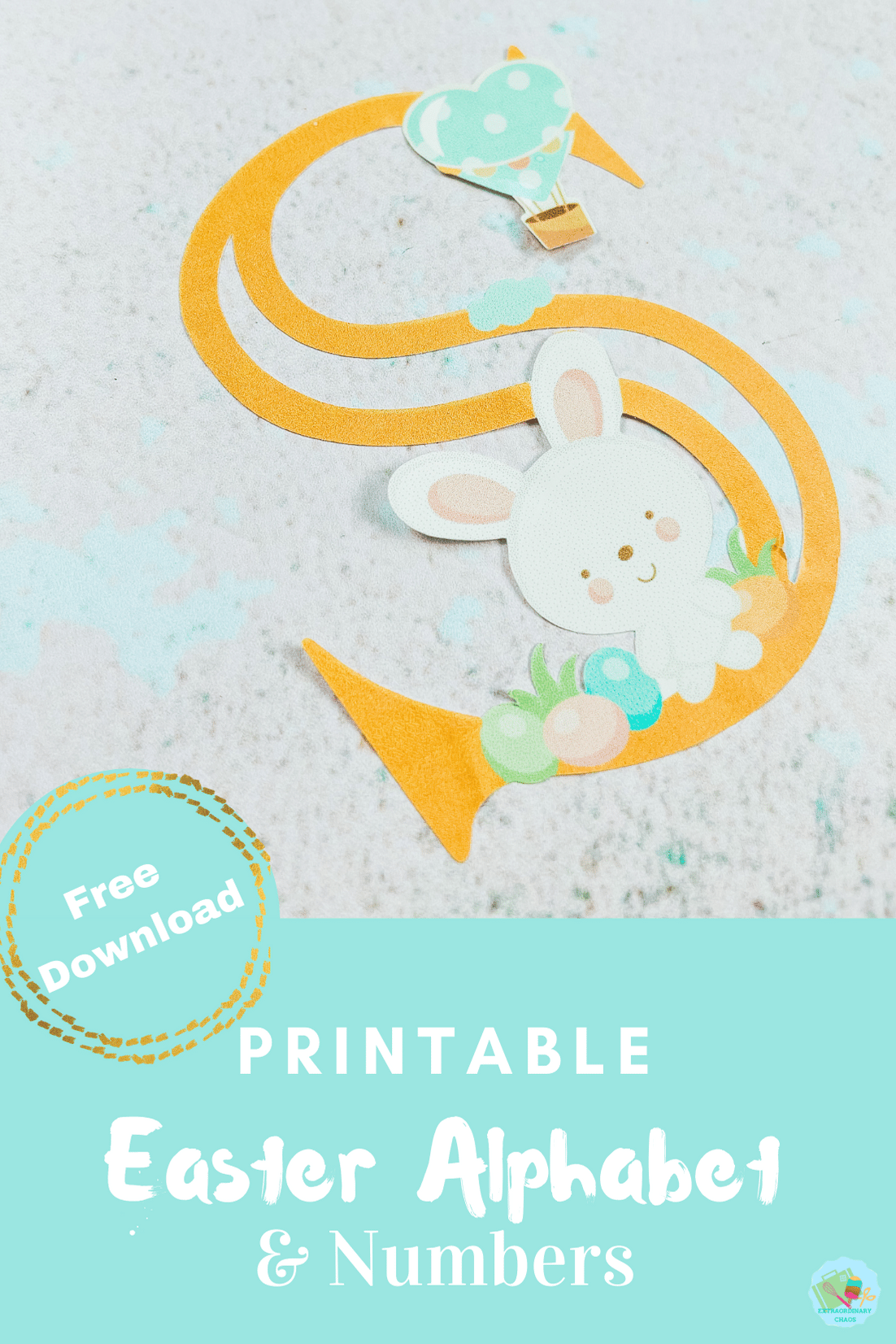 Free downloadable Print and Cut New Easter Alphabet for print and cut out by hand or print and cut with Cricut