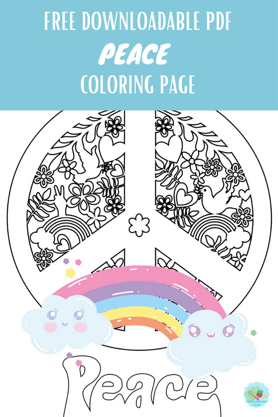 Free downloadable peace colouring page