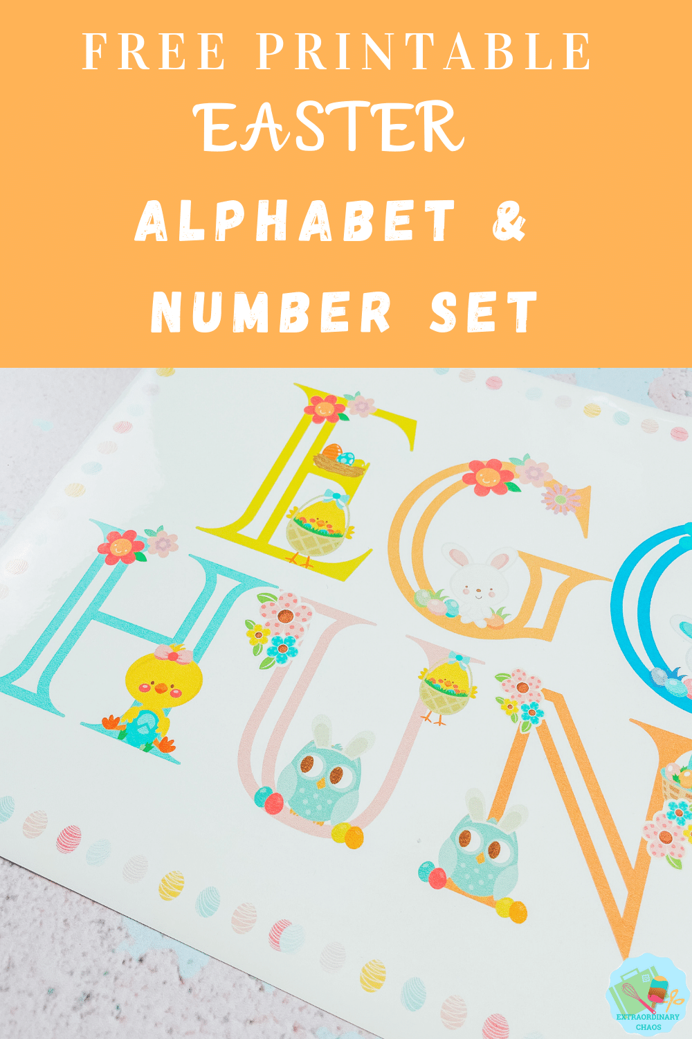 Free printable Easter Alphabet fro Cricut Easter Projects , sublimation, print and cut and crafts for kids